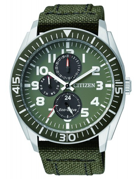 Citizen AP4011-01W Eco-Drive Mens Solar Watch GREEN WR100m