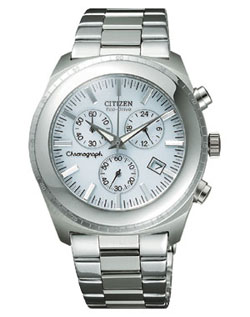 Citizen AT0090-52A OXY Chronograph Eco-Drive white watch with stainless steel strap