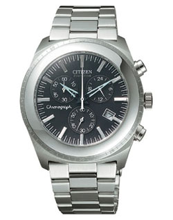 Citizen AT0090-52L OXY Chronograph Eco-Drive black watch with stainless steel strap