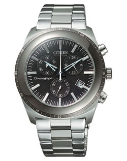 Citizen AT0091-50E OXY Chronograph Eco-Drive black watch with stainless steel strap
