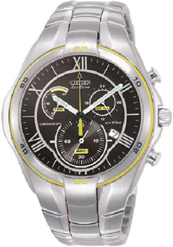 Citizen AT1086-54G Eco-Drive Stainless Steel WR100m Mens Chronograph