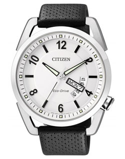 CITIZEN Eco-Drive Mens Watch AW0010-01A WR100m leather band