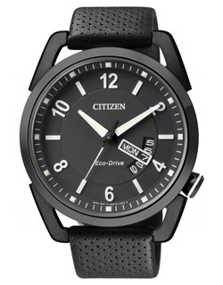 CITIZEN AW0015-08E Eco-Drive Mens Watch WR100m BLACK leather band