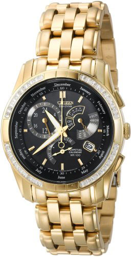 Citizen BL8043-51E Eco-Drive Perpetual Calendar Alarm Mens Diamond Gold Watch