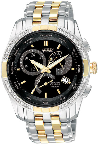 Citizen BL8044-59E Eco-Drive Perpetual Calendar Alarm Mens Diamond Watch Two-Tone