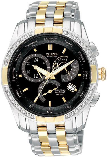 Citizen BL8044-59E Eco-Drive Perpetual Calendar Alarm Mens Diamond Watch Two-Tone