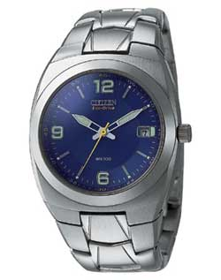 Citizen BM1060-54L blue Gents Eco-Drive watch with stainless steel strap