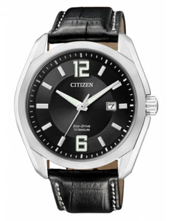 CITIZEN BM7081-01E  Eco-Drive Chronograph Gents leather band Titanium Watch