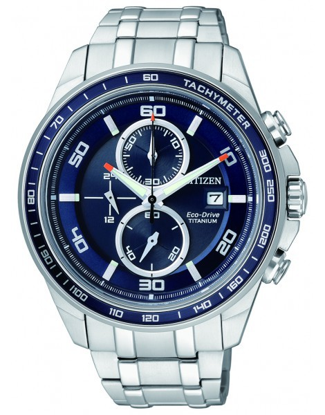 Citizen CA0346-59L Eco-Drive Titanium Mens Solar Watch WR100m BLUE