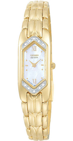 Citizen EG2082-55D Ladies Eco-Drive Silhouette Stainless Steel Gold Tone 10 real Diamonds Ladies watch