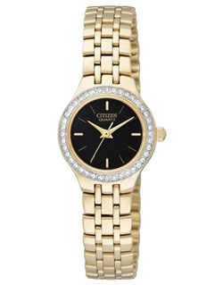 Citizen EJ6042-56E Ladies Watch Black Face Crystal