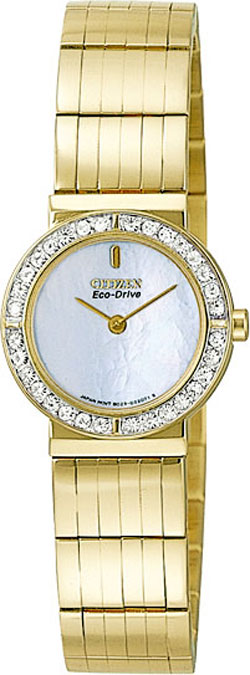 Citizen EW8152-55D Eco-Drive White Dial Mother of Pearl, Gold-Tone Stainless Steel Bracelet Ladies Watch