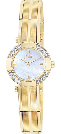 Citizen EW8372-59D 16 real Diamond Gold Tone Ladies Eco-Drive watch