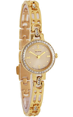 Citizen EW8462-58P Ladies Eco-Drive Silhouette Stainless Steel Gold Tone with Diamonds Ladies watch