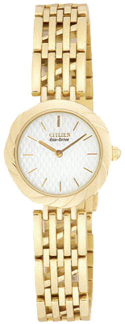 Citizen EW8622-53A Eco-Drive White Dial, Gold Tone Stainless Steel Bracelet Ladies Watch