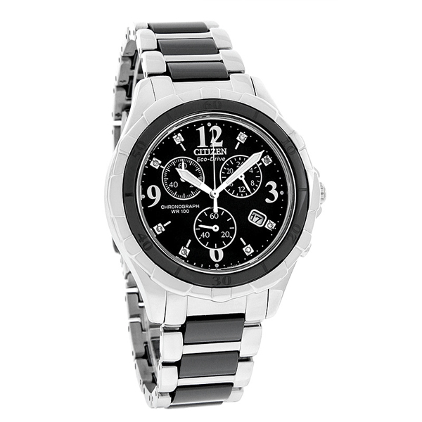 Citizen FB1241-53E Eco-Drive Ladies Ceramic Diamond Watch Chronograph