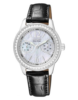 Citizen Eco-Drive FD1030-13D Ladies Dress Leather Band Watch Mother of Pearl Crystal