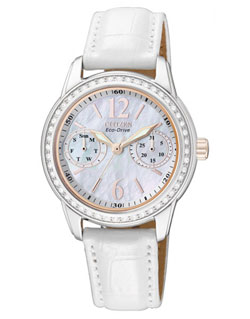 Citizen Eco-Drive FD1036-09D Ladies Dress Leather Band Watch Mother of Pearl Crystal
