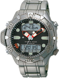 Citizen Promaster Sensor Aqualand II JP1030-53E 200M Alarm Watch Titanium Mens watch
