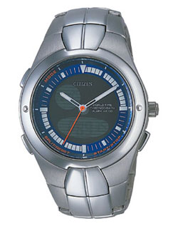Citizen JU0060-57L OXY Chronograph World Time Alarm watch with stainless steel strap