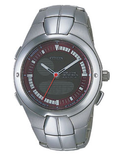 Citizen JU0060-57X OXY Chronograph World Time Alarm watch with stainless steel strap