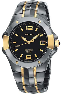 Seiko Coutura Mens Watch SGED96 SGED96P-9 two-tone Black Dial Watch