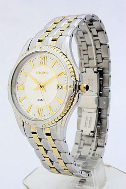 Seiko SGEE94 SGEE94P9 Mens Coutura Two Tone White Dial Watch