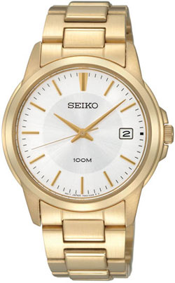Seiko SGEF56 SGEF56P1 Mens Watch WR100m Gold Tone