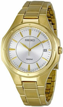 Seiko SGEF64 SGEF64P1 Mens Watch WR100m Gold Tone
