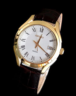 Seiko SGEF72 SGEF72P SGEF72P1 Mens Watch Gold Tone Leather Band