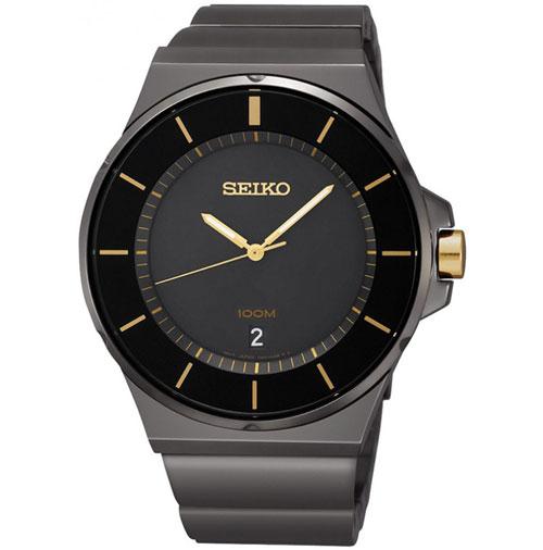 Seiko SGEG19 SGEG19P1 Mens Watch Black Gold