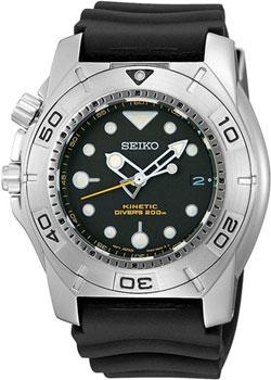 Seiko SKA293P2 Mens Kinetic Dive Watch Black Dial Strap