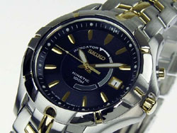 Seiko Kinetic Mens Watch SKA402 SKA401P SKA402P1 Two Tone Blue Dial Watch