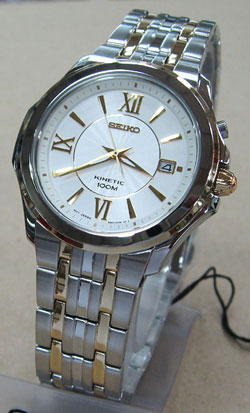 Seiko Kinetic two-tone SKA436 SKA436P SKA436P1 Mens Watch