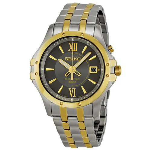 Seiko SKA550 SKA550P1 Mens Kinetic Watch Two-Tone WR50m