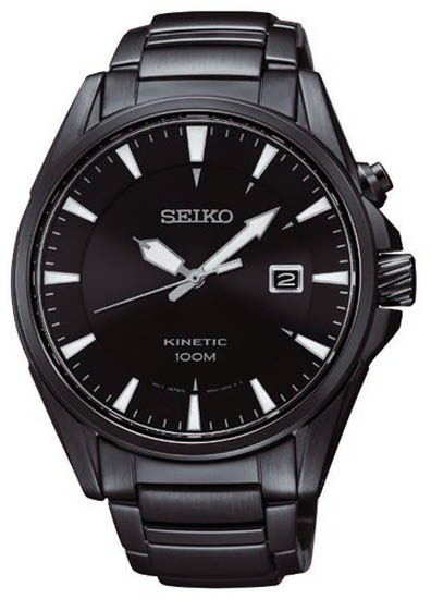 Seiko SKA567 SKA567P1 Kinetic Mens Watch Gun Metal WR100m