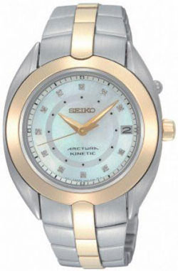 Seiko SKA896 SKA896P Ladies Kinetic Arctura Diamond Watch Mother of Pearl Dial Watch