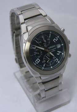 Seiko SNA417 Mens Alarm Stainless Steel Chronograph WR100m Blue Dial