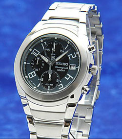 Seiko SNA419 Mens Alarm Stainless Steel Chronograph WR100m Black Dial