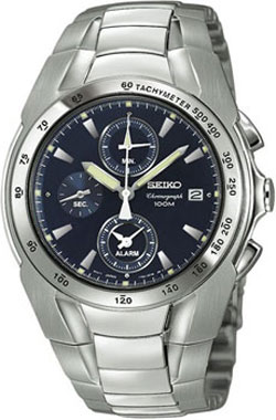 Seiko SNA521P1 Stainless Steel Alarm WR100m Mens Watch