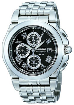 Seiko SNA525P1 Stainless Steel Alarm WR100m Mens Watch