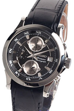 SEIKO Premier Gents Alarm Leather Band Chronograph SNA587P SNA587 in gift box watch