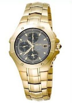 Seiko Coutura Alarm Chronograph - Gold-Tone - Bronze Face SNA694 SNA694P SNA694p-9 Mens Watch