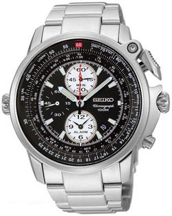 Seiko SNAB67 Mens Flight Master Alarm Chronograph Black Dial Pilot Watch