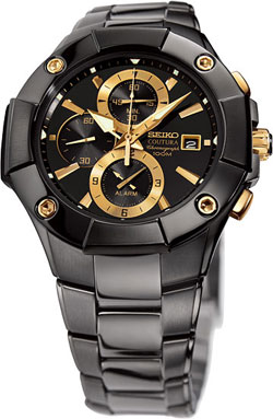 Seiko Coutura Chronograph SNAC75P1 SNAC75 SNAC75P Mens Alarm Black Gold Watch