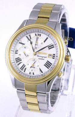 Seiko Alarm Chronograph two-tone SNAC78 SNAC78P SNAC78P1 Mens Watch