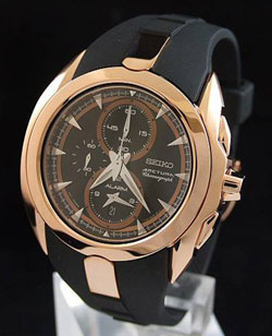 Seiko SNAD10P1 SNAD10 Mens Watch Arctura Alarm Chronograph Rose Gold