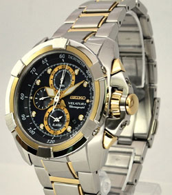 Seiko SNAD80 SNAD80P SNAD80P1 Two Tone Velatura Alarm Chronograph Blue Dial watch Mens Watch