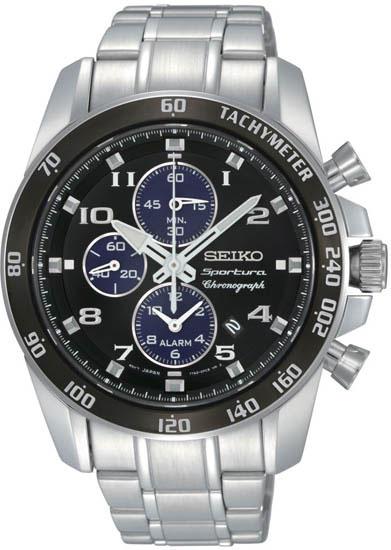 Seiko SNAE63 SNAE63P1 Sportura Mens Alarm Chronograph Watch