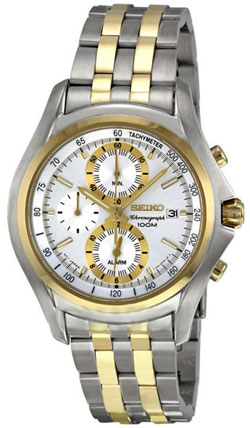 Seiko SNAE82 SNAE82P SNAE82P1 Mens Watch Two Tone Stainless Steel Alarm Chronograph